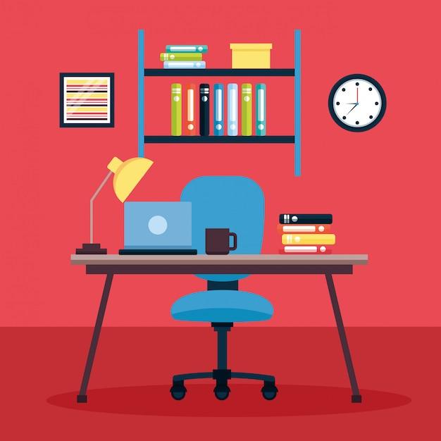Posto di lavoro interno dell'ufficio Vettore gratuito