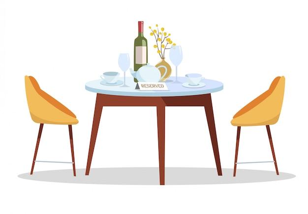 Posto per appuntamento romantico. segno riservato sul tavolo nel ristorante. concetto di tabella riservata Vettore Premium