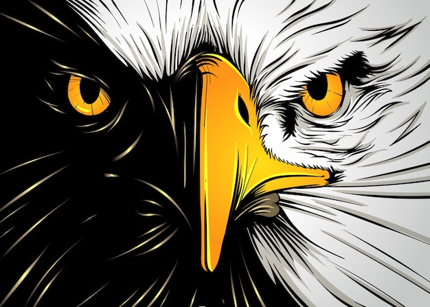 Potente eagle face Vettore Premium