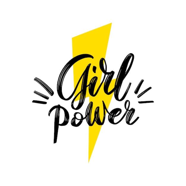 Potere femminile. frase motivazionale. citazione di scritte a mano femminista con il simbolo del fulmine Vettore Premium