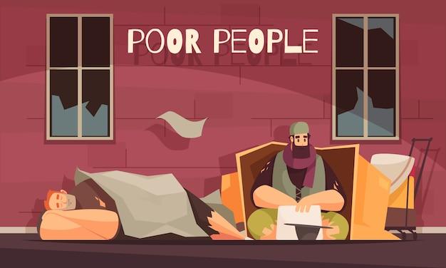 Poveri che vivono in scatola di cartone all'aperto chiedendo soldi banner piatto con senzatetto Vettore gratuito