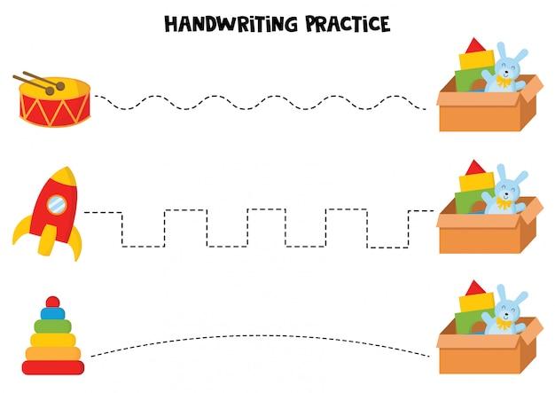 Pratica della scrittura a mano con giocattoli colorati per bambini. Vettore Premium