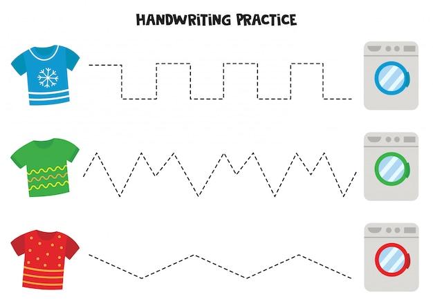 Pratica della scrittura a mano con magliette e lavatrici. Vettore Premium