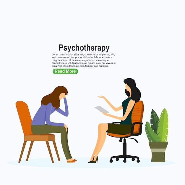 Pratica di psicoterapia, consulenza psichiatra paziente. trattamento del disturbo mentale. illustrazione vettoriale Vettore Premium