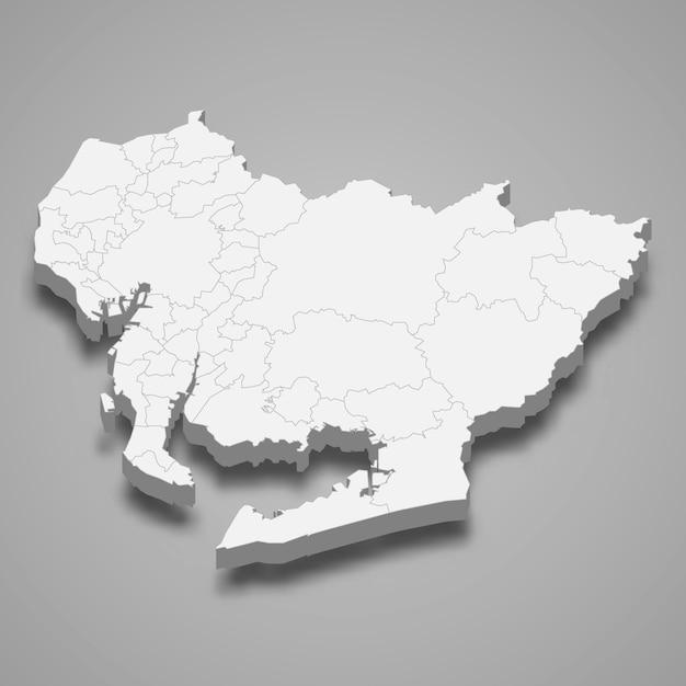 Prefettura della mappa 3d del giappone Vettore Premium