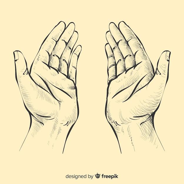 Pregando, mani, fondo Vettore gratuito