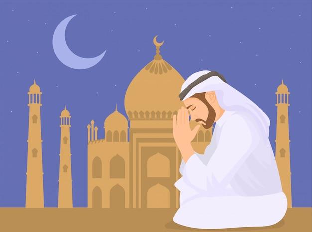 Preghiera musulmana e fondo della moschea Vettore Premium