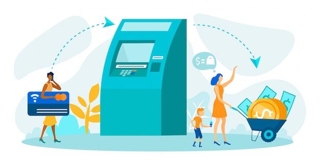 Prelievo di denaro tramite atm metafora cartoon vector Vettore Premium