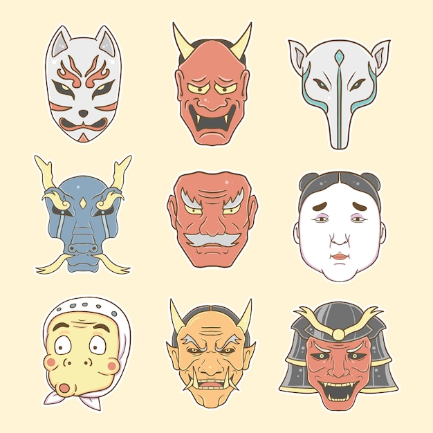 Premio stabilito dell'illustrazione della raccolta della maschera giapponese Vettore Premium