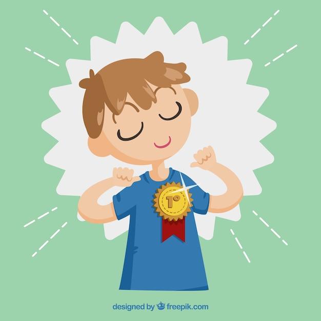 Premio vincente personaggio felice con design piatto Vettore gratuito