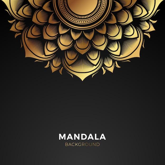 Premium gold mandala background Vettore Premium