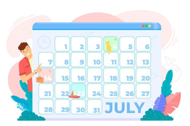 Prenotazione appuntamento con calendario e uomo Vettore gratuito