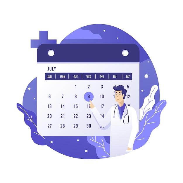 Prenotazione appuntamento con calendario per medico Vettore gratuito