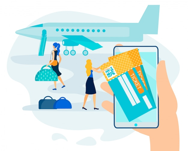 Prenotazione online, pagamento senza contanti per il biglietto elettronico aereo Vettore Premium