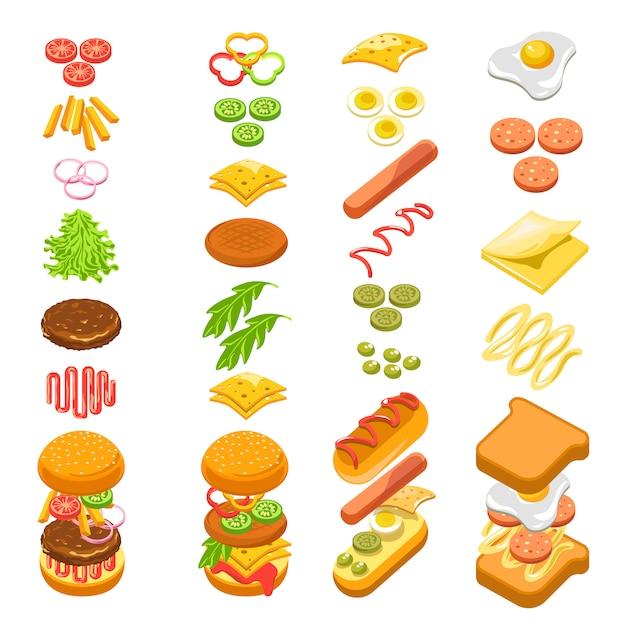 Preparare il poster colorato modello graduale di fast food Vettore Premium