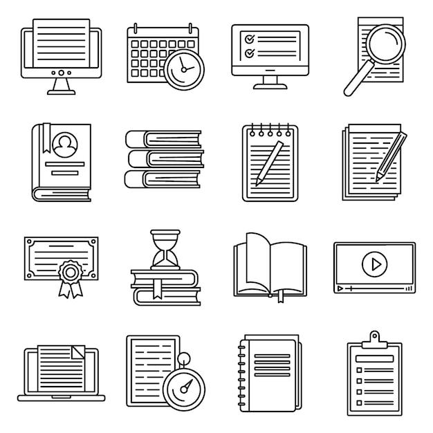 Preparazione all'istruzione per set di icone di esami, struttura di stile Vettore Premium