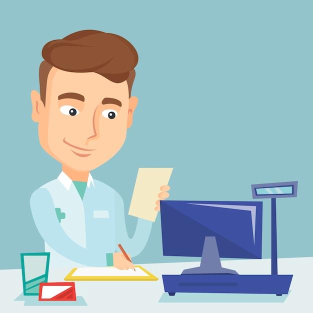 Prescrizione di scrittura del farmacista. Vettore Premium