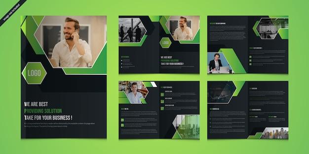 Presentazione aziendale moderna o profilo aziendale con 8 pagine e copertina Vettore Premium