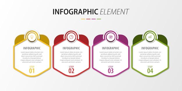 Presentazione dei passaggi infografici Vettore Premium