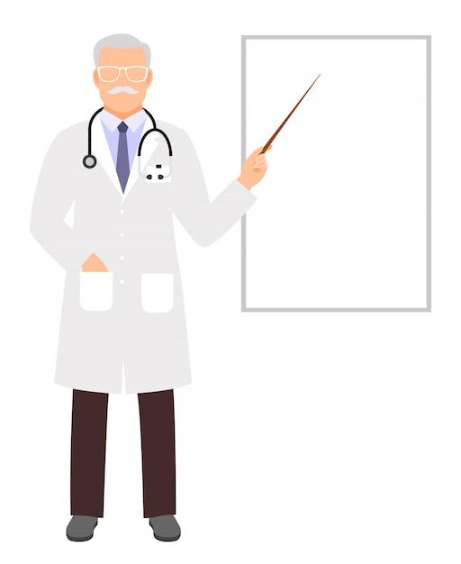 Presentazione del medico conferenza medica, insegnamento medico e mostrando su lavagna a fogli vuota con copyspace Vettore Premium