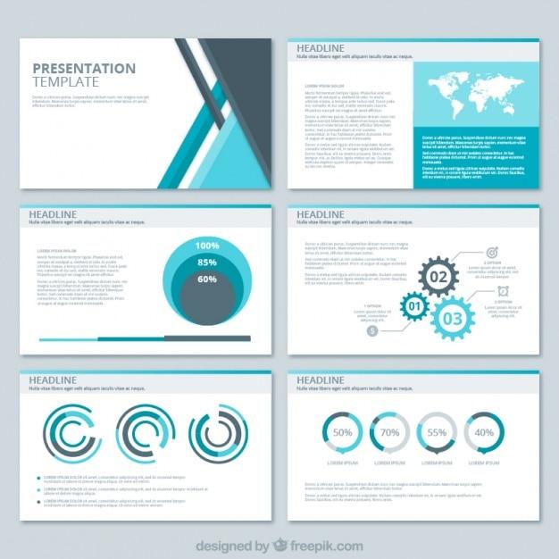 Presentazione di affari con forme geometriche e diversi grafici Vettore gratuito