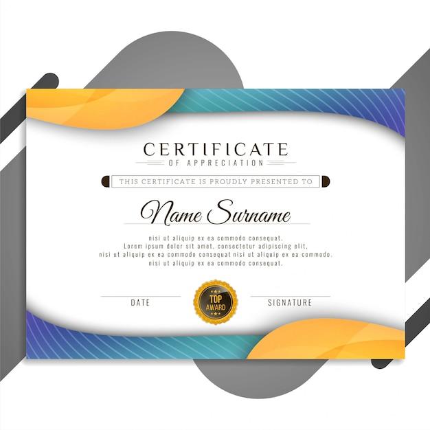 Presentazione di design astratto elegante certificato Vettore Premium