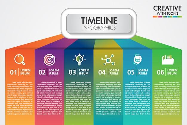 Presentazione di infographics di affari di vettore con 6 passaggi Vettore Premium
