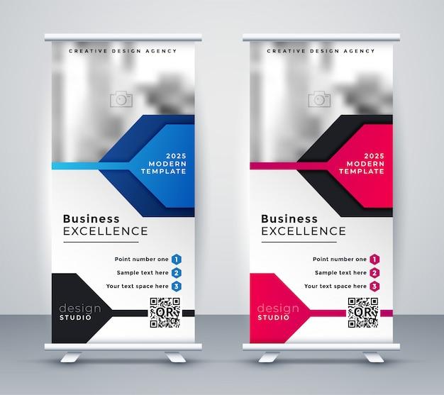 Presentazione roll up banner design Vettore gratuito