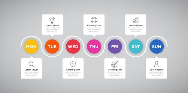Presentazione settimanale di business infographic del pianificatore Vettore Premium