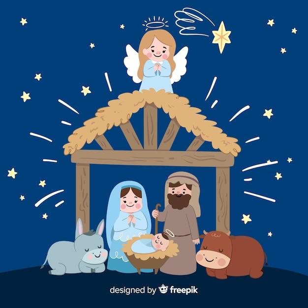 Immagini Natale Presepe.Presepe Di Natale Disegnato A Mano Scaricare Vettori Gratis