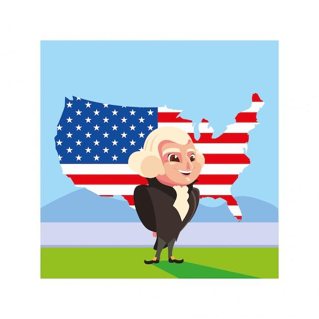 Presidente george washington con mappa stati uniti Vettore Premium