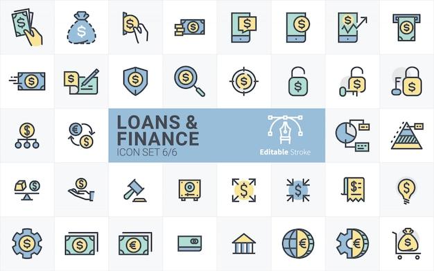 Prestiti e finanza collezione di icone con contorno tratto stile vol.6 Vettore Premium