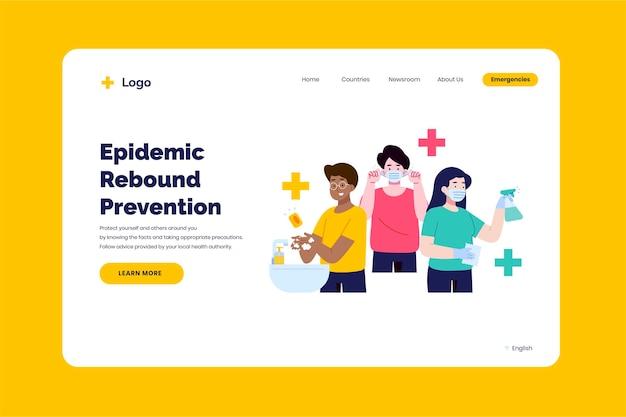 Prevenire il modello della pagina di destinazione del rimbalzo dell'epidemia Vettore gratuito