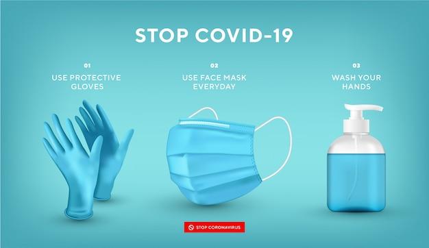 Prevenzione del coronavirus. concetto di quarantena. pandemia. ferma il virus pericoloso. usare maschera, guanti e lavarsi le mani. maschera medica realistica, guanti, sapone. Vettore Premium