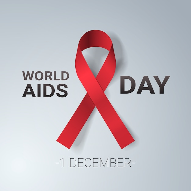 Prevenzione medica del nastro rosso di consapevolezza della giornata mondiale dell'aids 1 dicembre Vettore Premium