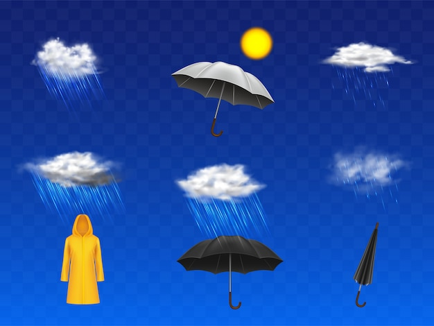 Previsioni meteo tempestose e piovose icone realistiche 3d impostato con disco sole, nuvole con precipitazioni Vettore gratuito