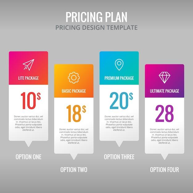 Prezzi modello di piano Infografica elemento di Design Vettore gratuito