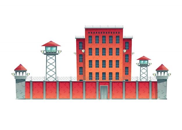 Prigione, edificio carcerario recintato con posti di osservazione di guardia su alta recinzione con filo spinato sforzato e proiettori proiettori su watchtowers cartoon illustrazione vettoriale isolato Vettore gratuito