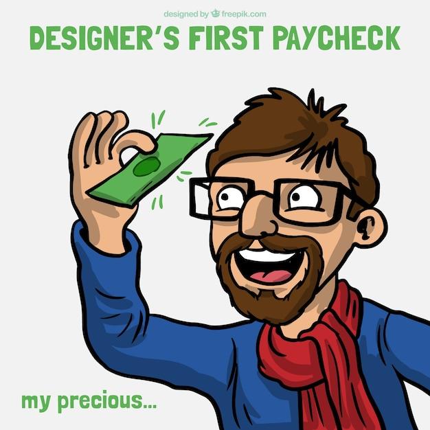 Prima battuta stipendio del designer Vettore gratuito