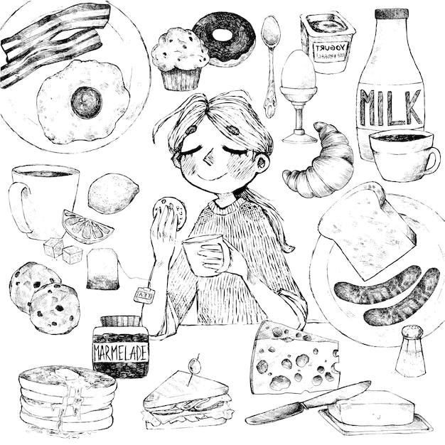 Prima colazione. disegno a mano di cibi e bevande. la ragazza fa colazione. Vettore Premium