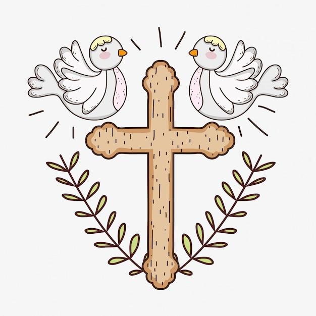 Prima comunione con croce e colombe con rami foglie Vettore Premium