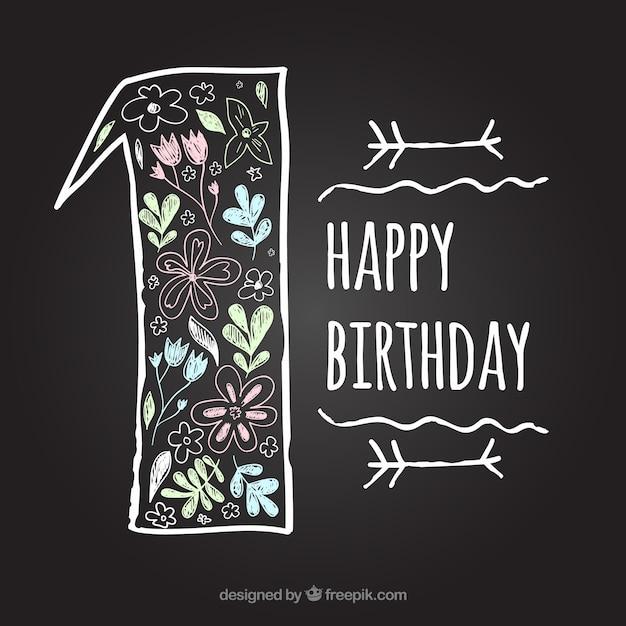 Prima lavagna di compleanno Vettore gratuito