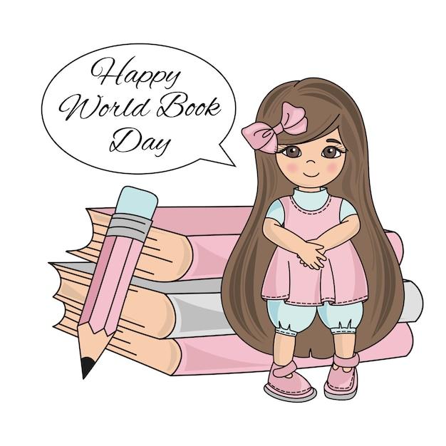 Prima ragazza giornata mondiale del libro per bambini Vettore Premium