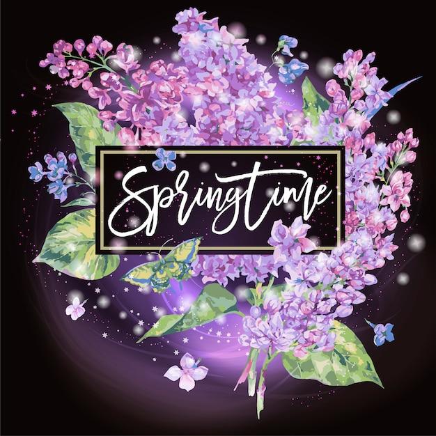 Primavera. biglietto di auguri floreale primavera di lillà Vettore Premium