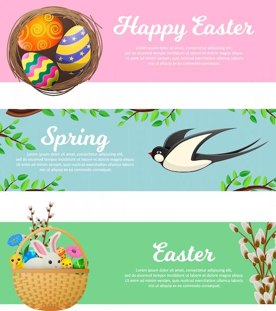 Primavera e felice banner web di pasqua impostato Vettore Premium