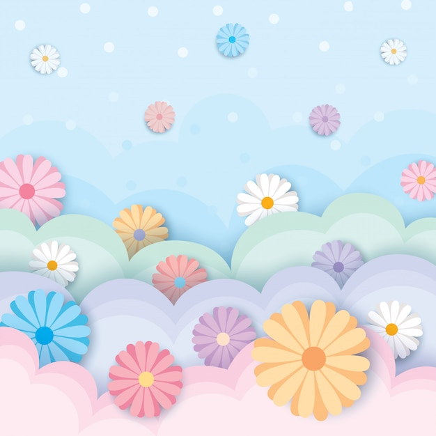 Primavera-fiore-pastello Vettore Premium
