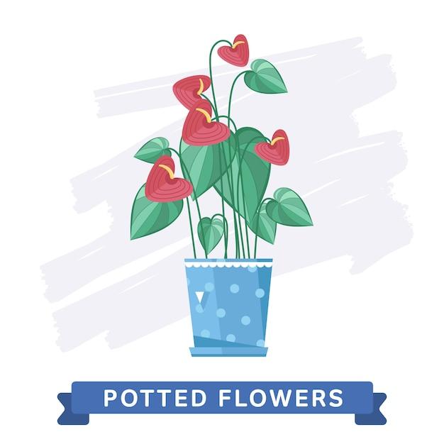 Primavera fiori colorati in vaso Vettore Premium