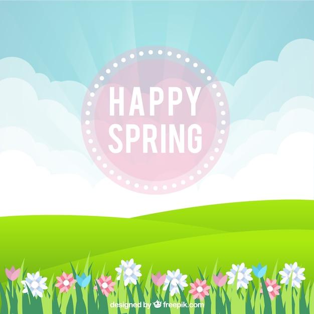 Primavera sfondo felice con prato e fiori scaricare for Sfondi primaverili