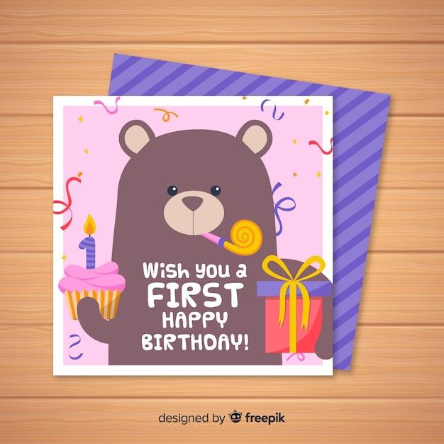 Primo biglietto d'invito compleanno con orso Vettore gratuito
