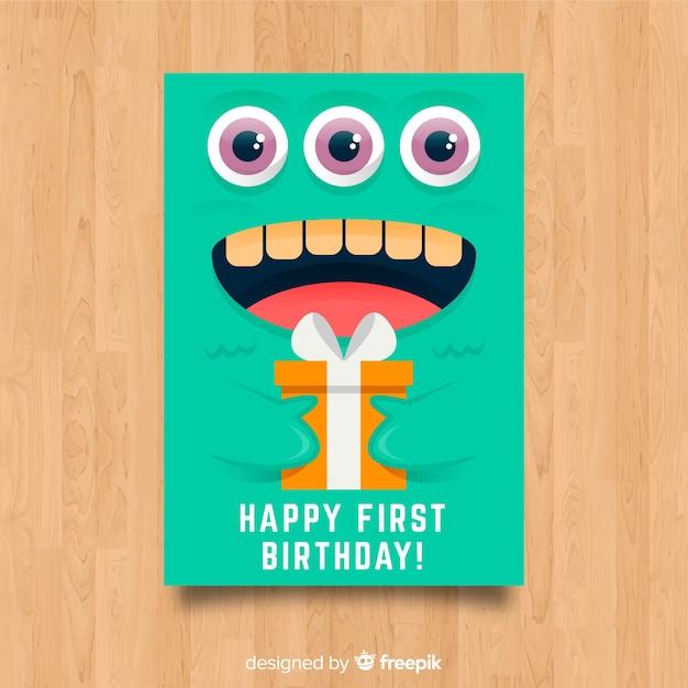 Primo biglietto d'invito per la festa di compleanno Vettore gratuito